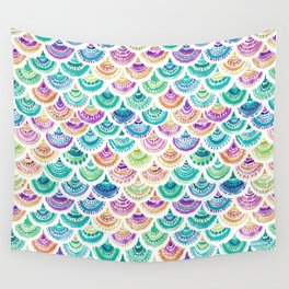 RAINBOW MERMACITA Colorful Mermaid Scales Wall Tapestry
