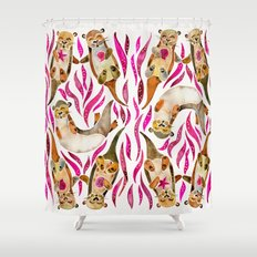 Otters – Pink Accents Shower Curtain