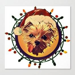 Christmas Dog T-Shirt Canvas Print