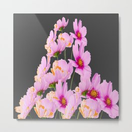 PASTEL FUCHSIA PINK COSMOS FLOWERS  ON GREY COLOR Metal Print