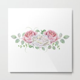 Peonies and Roses Metal Print