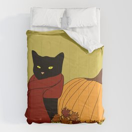 Cascade The Black Cat In Red Scarf With Pumpkin - Fall Comforters