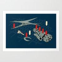 battlestar Art Prints featuring You Sunk My Battlestar by Caddywompus