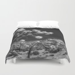 Joshua Trees and Boulders in Infrared Black and White at Joshua Tree National Park California Duvet Cover