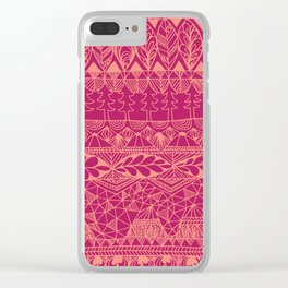Mountain Tapestry in Sunset Pink Clear iPhone Case