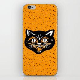 Vintage Type Halloween Black Cat Face Stars Orange iPhone Skin