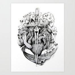 Rabbits and Hearts Art Print
