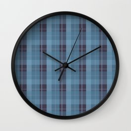 AFE Blue Plaid Pattern II Wall Clock