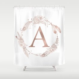 Letter A Rose Gold Pink Initial Monogram Shower Curtain
