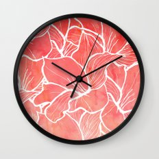 Modern white handdrawn flowers coral watercolor pattern Wall Clock