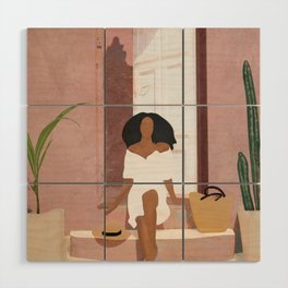 Woman sitting on the porch Wood Wall Art