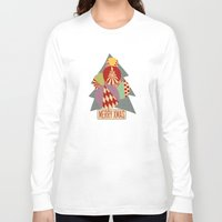 blankets Long Sleeve T-shirts featuring christmas tree MINIMALIST by Chicca Besso