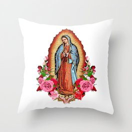 Our Lady of Guadalupe with roses Throw Pillow