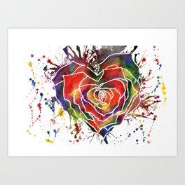Rainbow Rose Love Heart Art Print