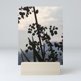 Shadowy rose leaves Mini Art Print