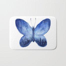 Blue Galaxy Butterfly Bath Mat