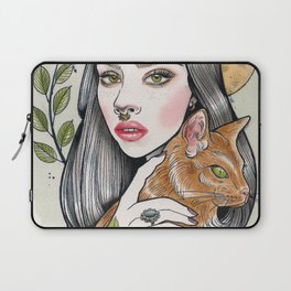 The Girl and Her Cat Laptop Sleeve