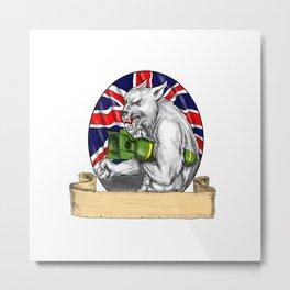 White Wolf Holding Bomb British Flag Tattoo Metal Print