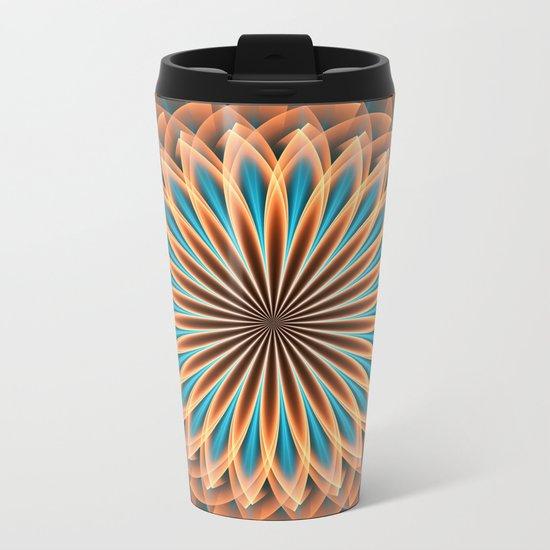 Floral mandala in orange and blue Metal Travel Mug
