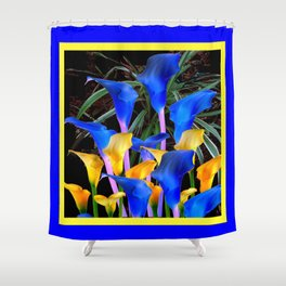 BLUE-BLACK MODERN ABSTRACT BLUE & GOLD CALLA LILIES Shower Curtain