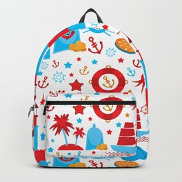 pattern with sea icons on white background. Seamless pattern. Red and blue Backpack
