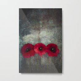 Three red poppies Metal Print