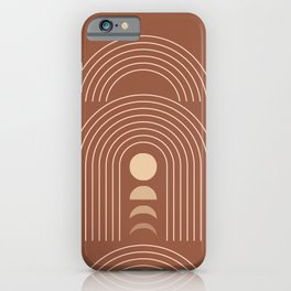 Geometric Lines in Terracotta and Beige 21 (Rainbow Moon Phases) iPhone Case