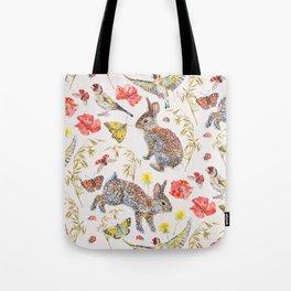 Bunny Meadow Pattern Tote Bag