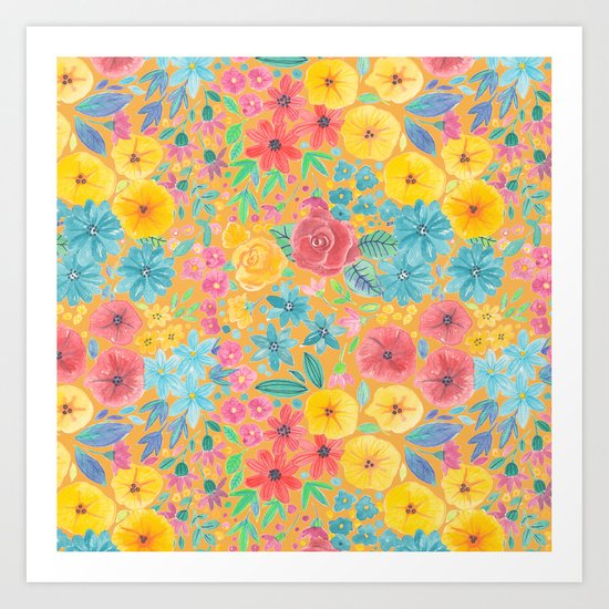 Floral watercolor pattern in yellow Art Print