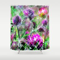 clover Shower Curtains featuring Sparkling clover. by Mary Berg