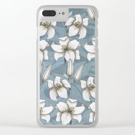 white lily pattern Clear iPhone Case