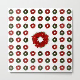 Christmas Wreath Pattern Metal Print