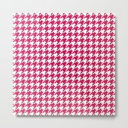 Ruby Red Houndstooth Pattern Metal Print