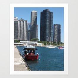 Chicago Fire Department, Chicago Shoreline, Skyline Art Print