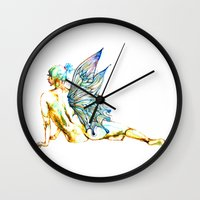 tinker bell Wall Clocks featuring Tinker Bell with one wing by Chien-Yu Peng