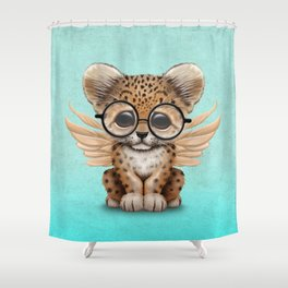 Cute Leopard Cub Fairy Wearing Glasses on Blue Shower Curtain