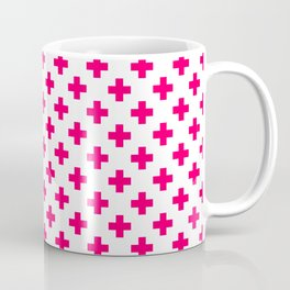 Hot Neon Pink Crosses on White Coffee Mug