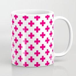 Hot Neon Pink Crosses on White Coffee Mug