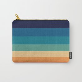 Vintage 70s Color Staggered Striped Color Block Pattern Sunset Sky Carry-All Pouch