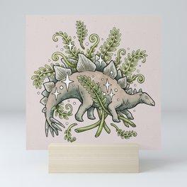 Stegosaurus & Ferns   Dinosaur Botanical Art Mini Art Print