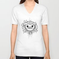 antler V-neck T-shirts featuring Antler Monster by tnelly