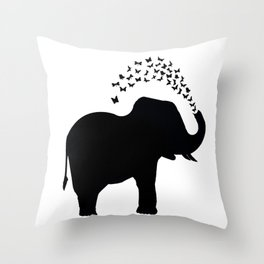 Elephant and butterfly spray Throw Pillow
