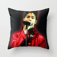 prince Throw Pillows featuring Prince by JR van Kampen
