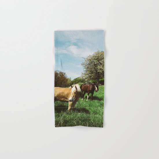 Horses In Spring Pasture Hand & Bath Towel