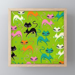 Prancing Kittens on Lime Framed Mini Art Print