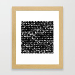 Triangle Watercolor Seamless repeating Pattern - Black and White Framed Art Print