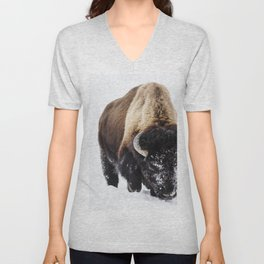 American bison or buffaloes in Yellowstone National Park in the northwest corner of Wyoming Unisex V-Neck