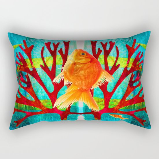 Golden Fish Rectangular Pillow