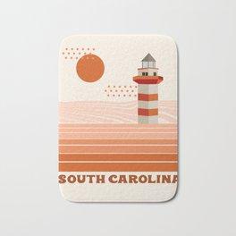 South Carolina - retro 70s style travel poster minimal lighthouses 1970's ocean beach Bath Mat