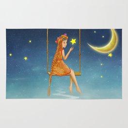 The lovely girl shakes on a swing , illustration art Rug